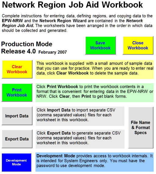 Network Region Job Aid Workbook