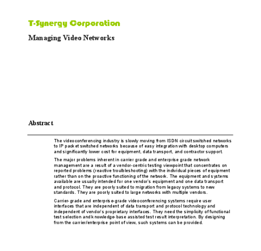 White Paper: Managing Video Networks